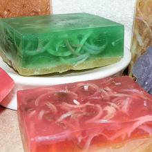 Opaque Soap Curls in Transparent Bars of Soap