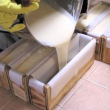 Pouring Cold Process Soap into Wooden Molds